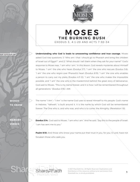 Exodus 3 Moses and the Burning Bush Curriculum