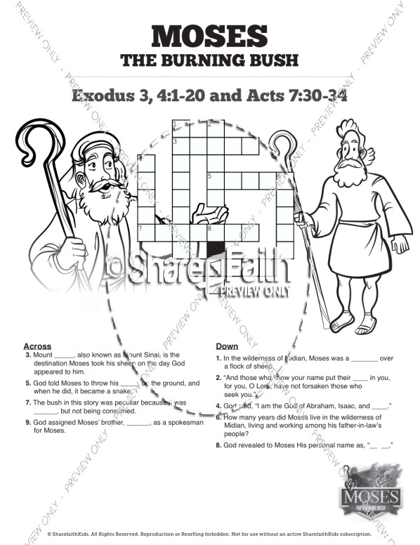Exodus 3 Moses and the Burning Bush Sunday School Crossword Puzzles