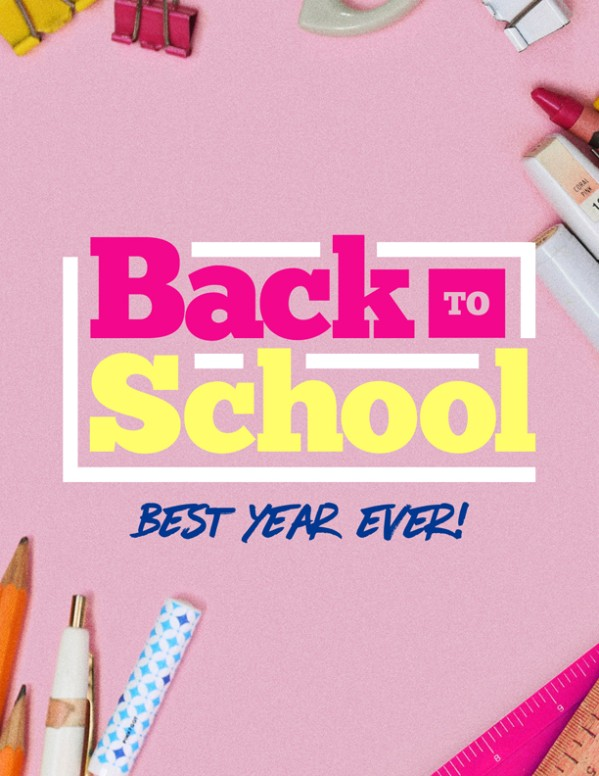 Back to School Supplies Church Flyer