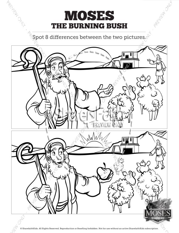 Exodus 3 Moses and the Burning Bush Kids Spot the Difference