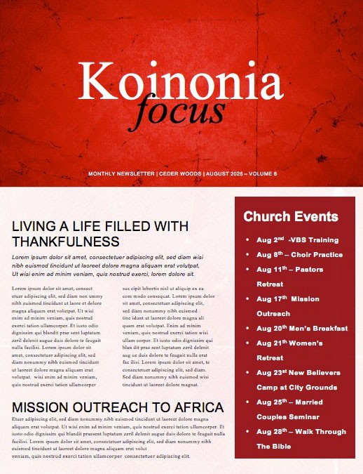 No Longer Slaves Church Newsletter Template