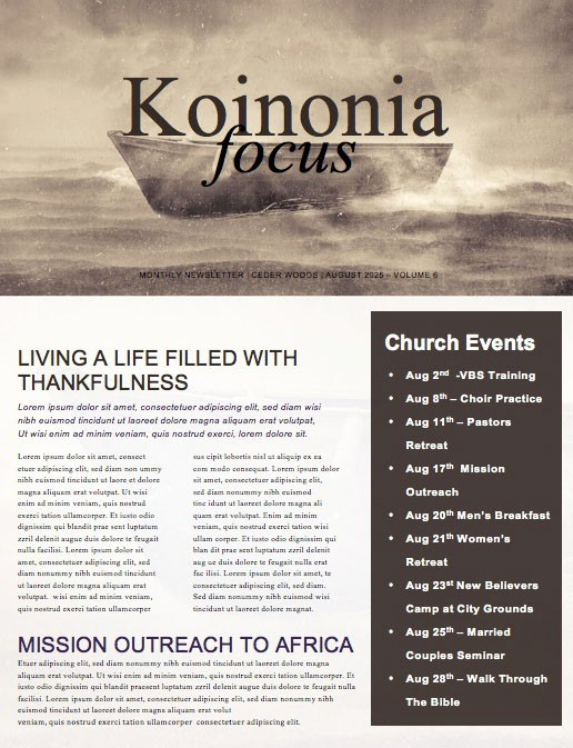 Keep the Faith Church Newsletter Template