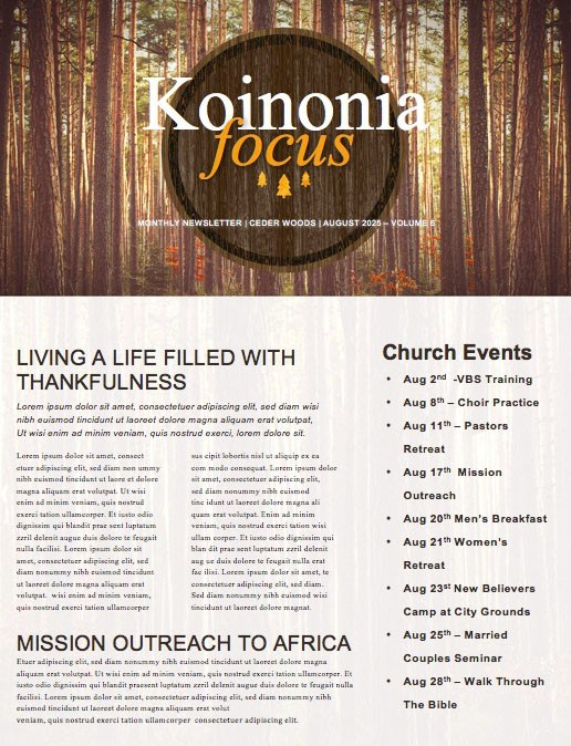 Fall Retreat Church Newsletter Template