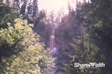 Sunlit Waterfall Church Motion Background