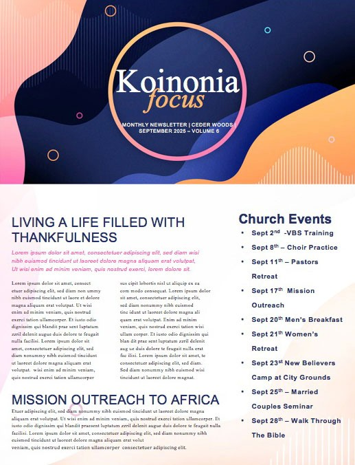 Fall Kick Off Church Newsletter Template