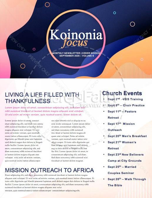 Fall Kick Off Church Newsletter Template