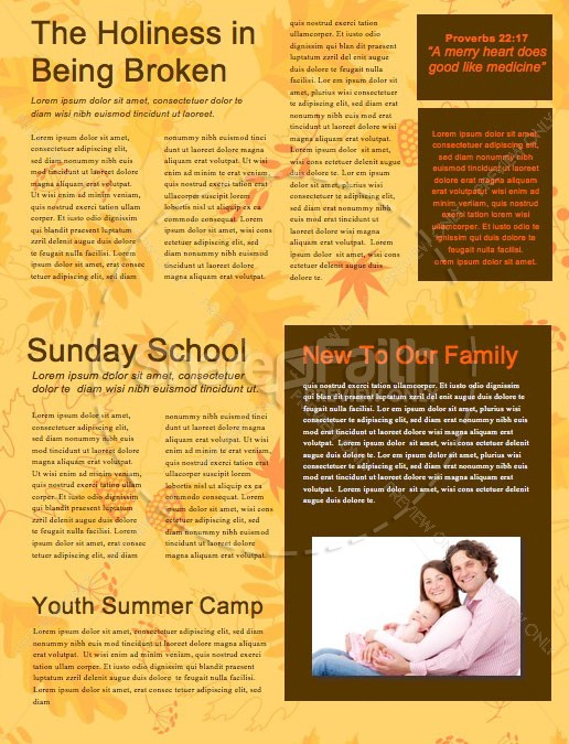 Harvest Party Church Newsletter Template