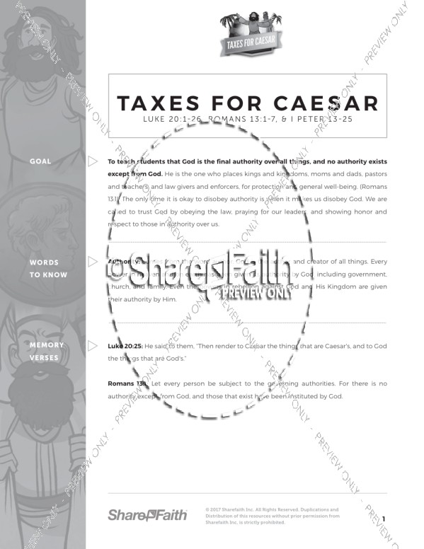 Luke 20 Taxes For Caesar Curriculum
