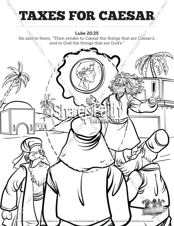 Luke 20 Taxes For Caesar Sunday School Coloring Pages