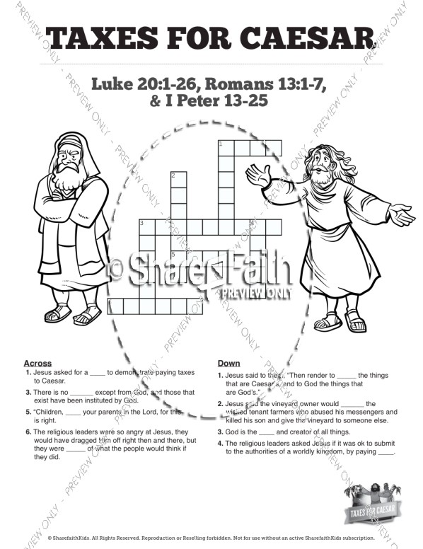 Luke 20 Taxes For Caesar Sunday School Crossword Puzzles