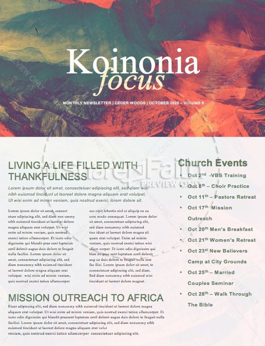 Exodus Church Newsletter Template