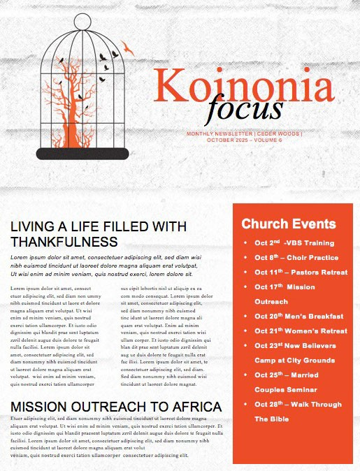 Freedom and Purpose Church Newsletter Template