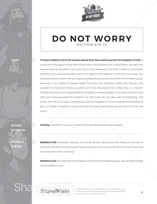 Matthew 6 Do Not Worry Curriculum