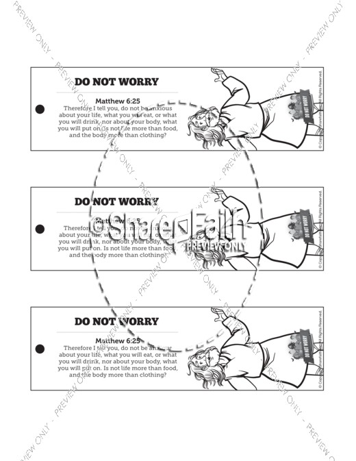 Matthew 6 Do Not Worry Bible Bookmarks