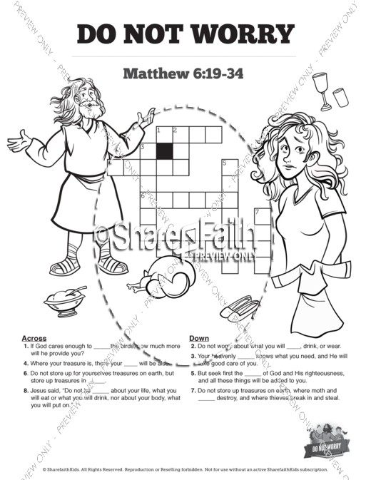 Matthew 6 Do Not Worry Sunday School Crossword Puzzles
