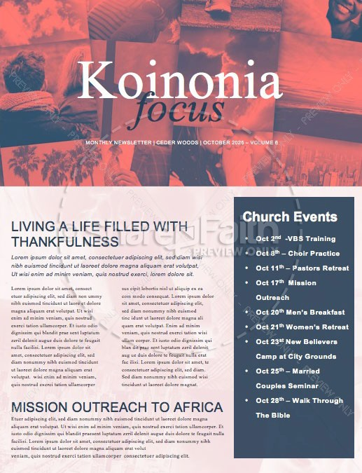 Balance In Life Church Newsletter Template | page 1