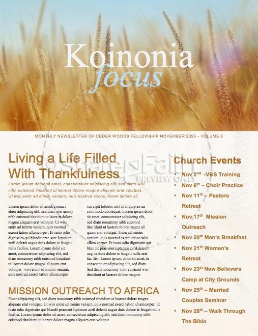 Thanksgiving Harvest Church Newsletter Template