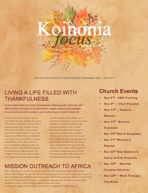 Choose Joy Church Newsletter Template