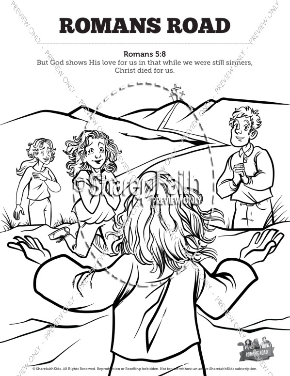 Romans Road Sunday School Coloring Pages