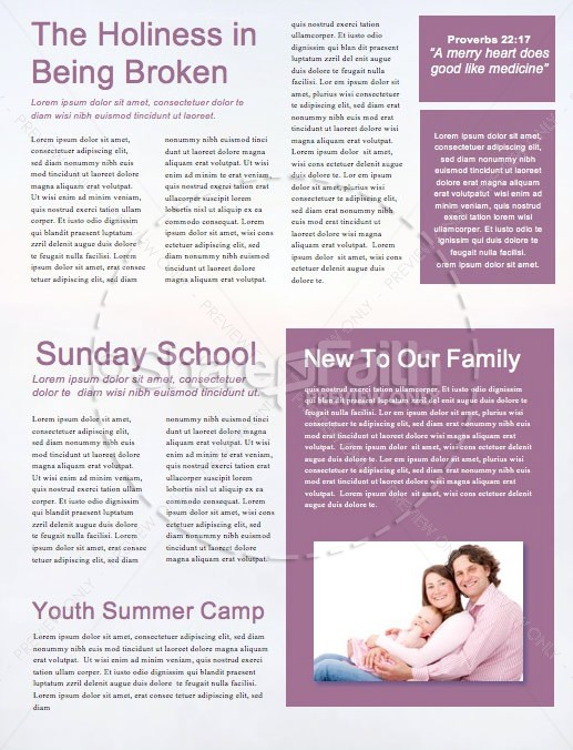 Peace Of Mind Church Newsletter Template