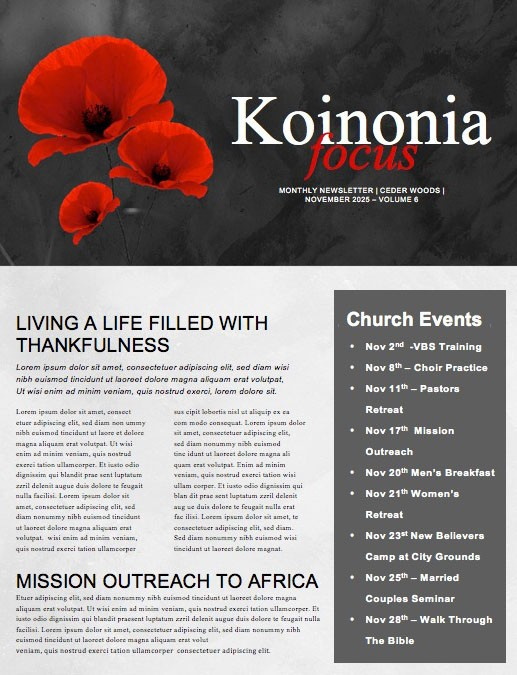Remembrance Day Church Newsletter Template