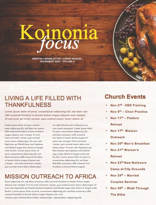 Prayer for Thanksgiving Church Newsletter Template