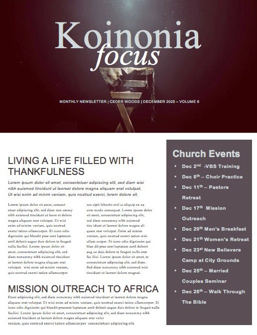 Manger Of Jesus Christmas Newsletter Template
