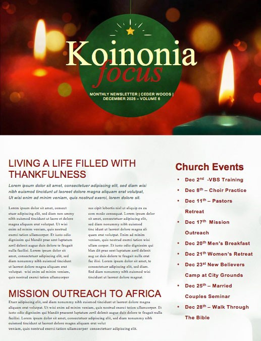 Christmas Eve Candlelight Service Newsletter