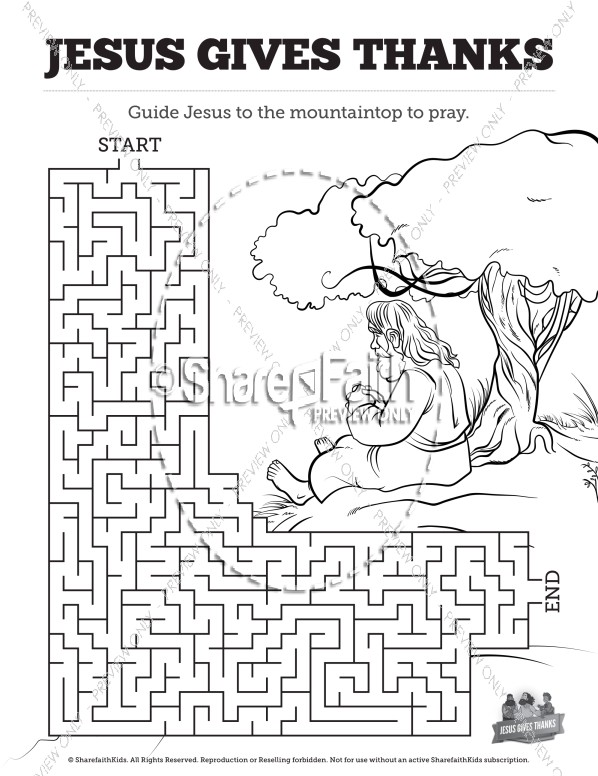 Matthew 11 Jesus Gives Thanks Bible Mazes