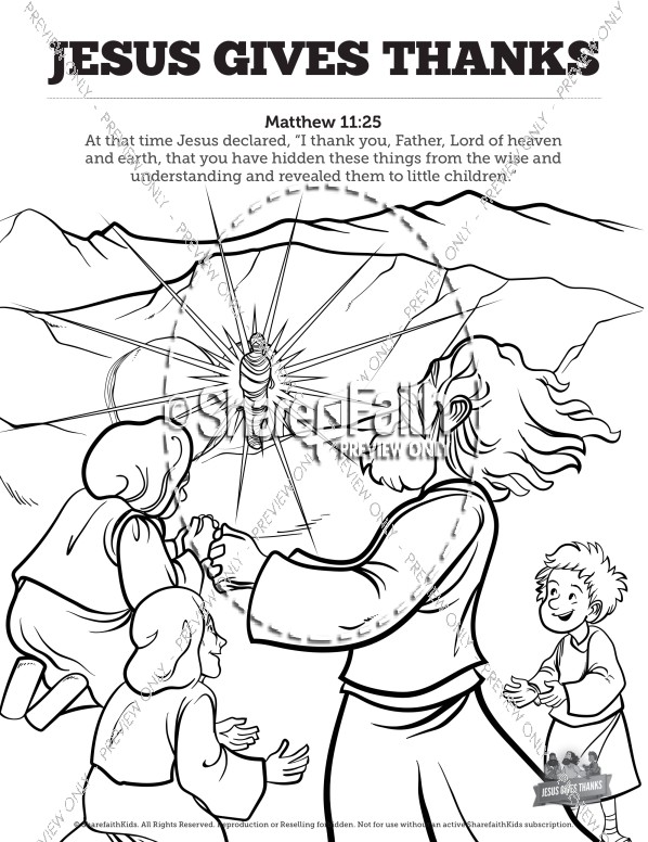 Matthew 11 Jesus Gives Thanks Sunday School Coloring Pages