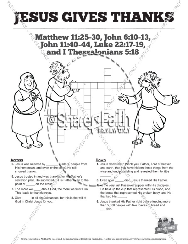Matthew 11 Jesus Gives Thanks Sunday School Crossword Puzzles