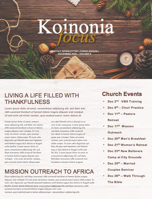 Church Christmas Party Newsletter Template