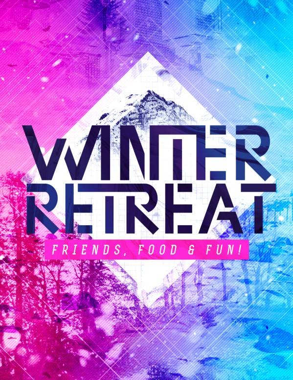 Winter Retreat Church Flyer Template