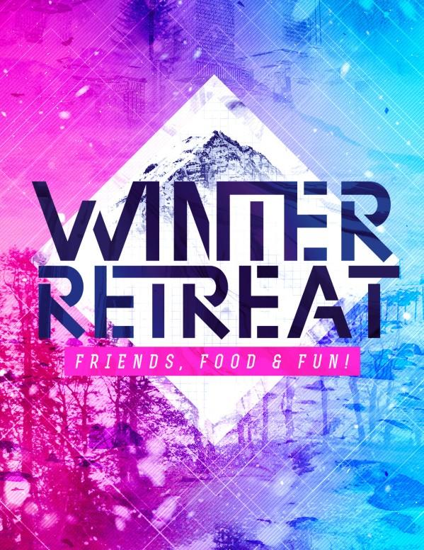 Winter Retreat Church Flyer Template