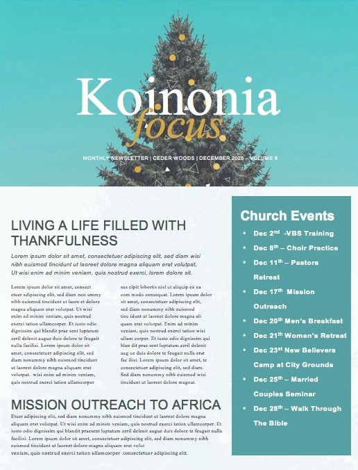 Christmas Tree Holiday Church Newsletter