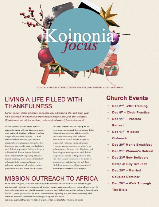 Uncluttered Christmas Church Newsletter