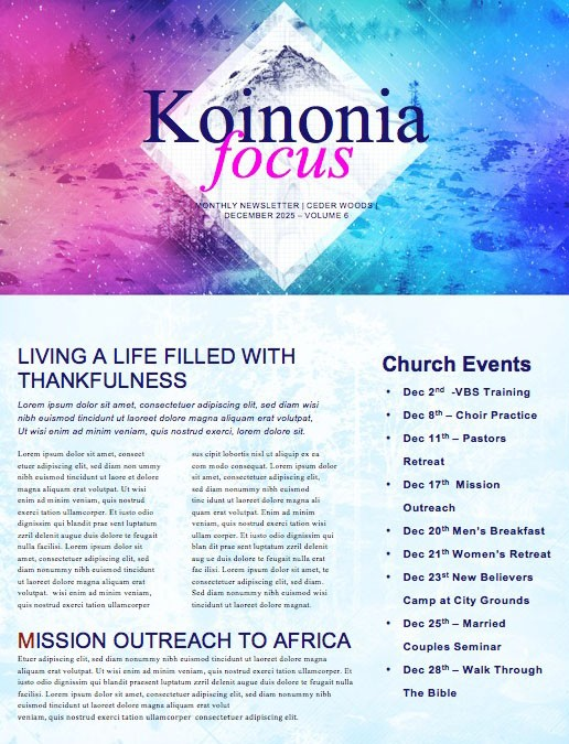 Winter Retreat Church Newsletter Template