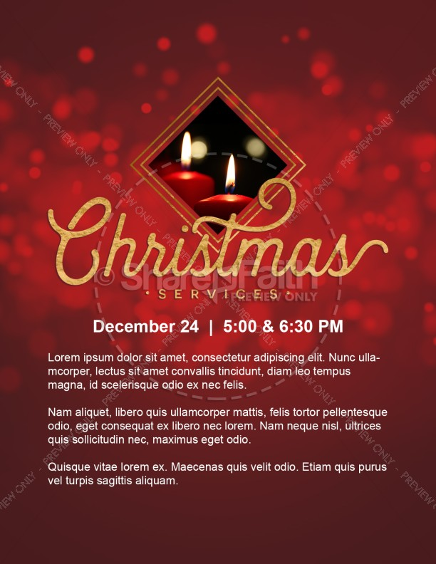 Christmas Church Services Flyer Template