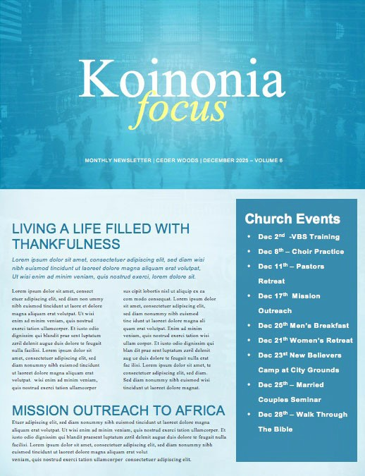 Seek First The Kingdom Of God Church Newsletter
