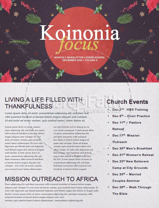 Come Home This Christmas Church Newsletter