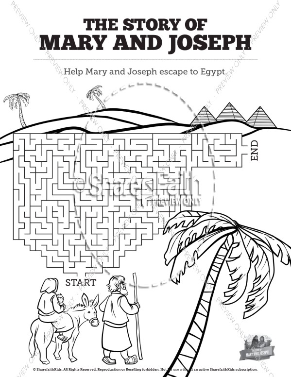 Bible Christmas Story.Luke 2 Mary And Joseph Christmas Story Bible Mazes Bible Mazes