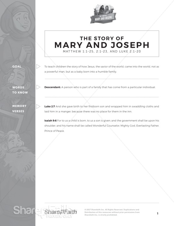 Luke 2 Mary and Joseph Christmas Story Curriculum