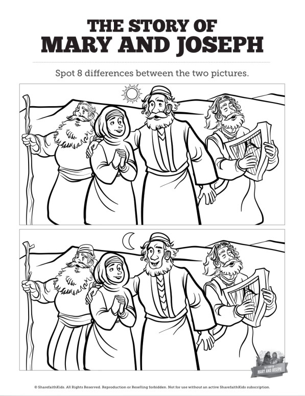 Luke 2 Mary and Joseph Christmas Story Kids Spot the Differences