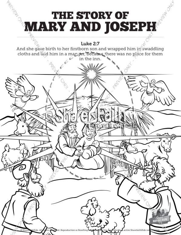 Luke 2 Mary and Joseph Christmas Story Sunday School Coloring Pages