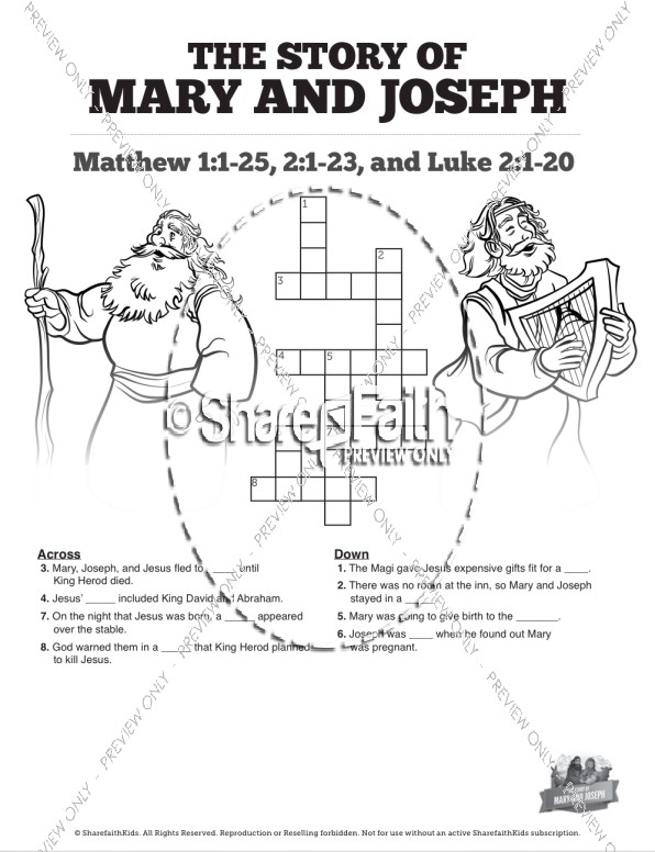 Luke 2 Mary and Joseph Christmas Story Sunday School Crossword Puzzles