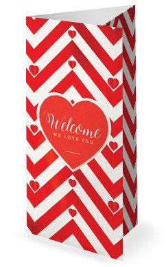 Valentine's Day Chevron Trifold Bulletin Template