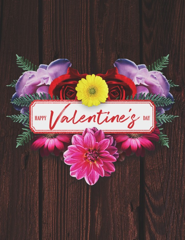 Valentine's Day Floral Flyer Template