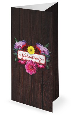 Valentine's Day Floral Church Trifold Bulletin Template