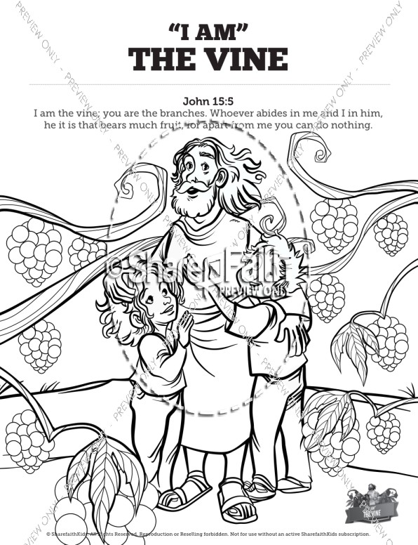 John 15 I Am The Vine Sunday School Coloring Pages