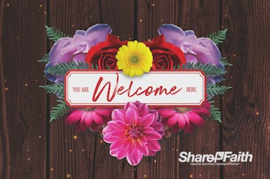 Valentine's Day Floral Church Welcome Motion Graphic
